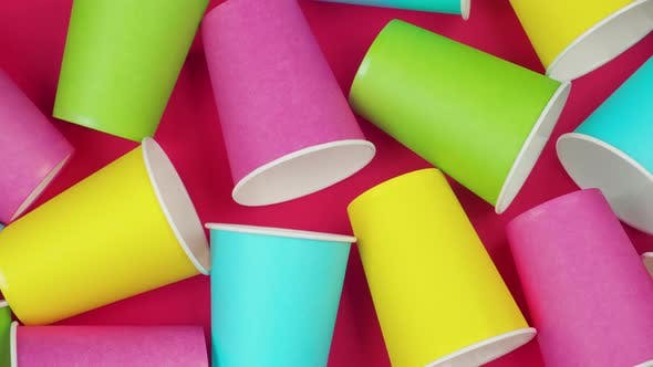 Thumbnail for Flat Lay Multicolored Paper Cups. Background Red Color