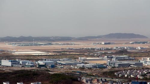 Timelapse Incheon Airport Infrastructure at City By Hills