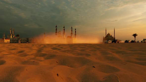 Thumbnail for Grand Mosque with 4 Minarets in the Desert and Convoy Passing By