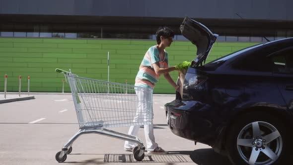Thumbnail for Weiblich in der Nähe Einkaufszentrum mit Einkäufen