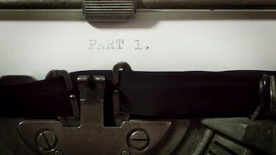 writing screenplay on old typewriter