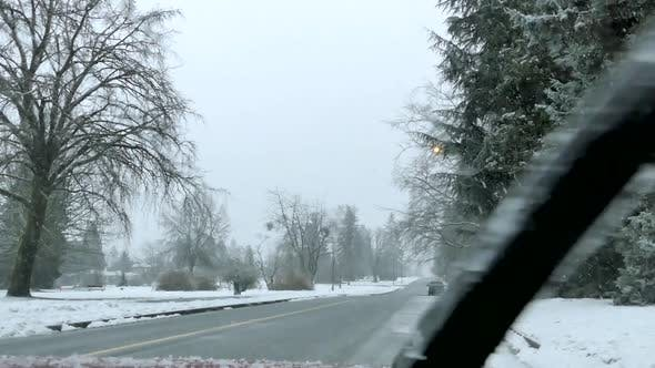 Thumbnail for Winter Village - Snowy Road and Park - Car Windshield