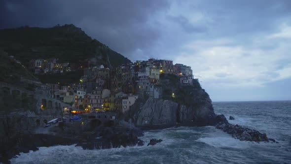 Thumbnail for Evening in Amazing Manarola Village in Italy, Beautiful Landscape, Stormy Sea