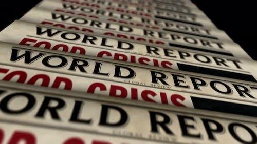Food crisis news, famine and hunger disaster newspaper printing press