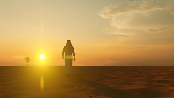Thumbnail for Arab Male Walking Lost Alone in the Desert