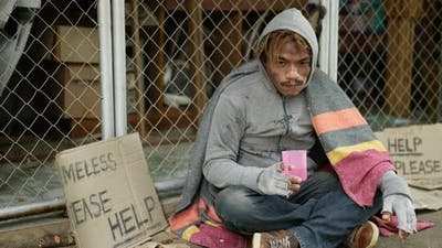 Homeless drinking water