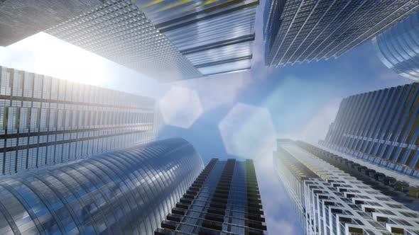 Thumbnail for Windows of Skyscraper Business Office with Blue Sky
