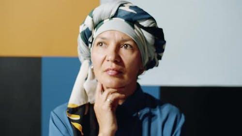 Mature Woman in Turban Portrait