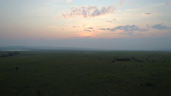 Thumbnail for Flight to Sunset over Khakassia Steppe