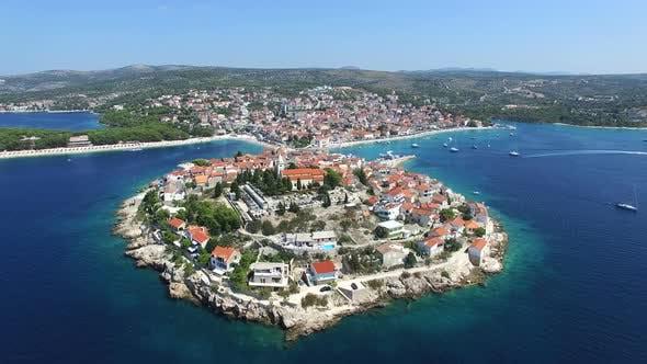 Thumbnail for Aerial view of famous croatian touristic destination, town of Primosten, Croatia