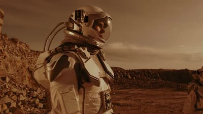 Astronaut Speaking with Colleague on Mars