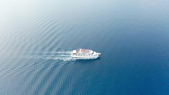 Drone Video Aerial Video of Ferry Ship in Adriatic Sea - Croatia