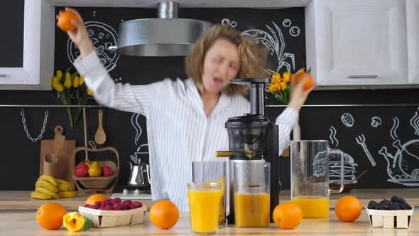 Thumbnail for Motivational Inspirational Lifestyle Concept. Young Woman Dancing In Kitchen.