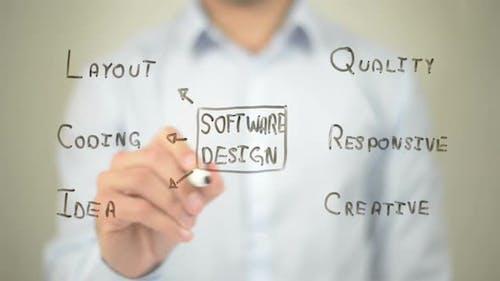 Software Design, Businessman Writing on Transparent Screen