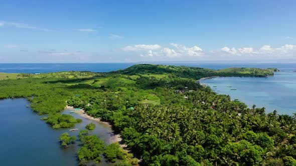 Thumbnail for Tropical Landscape, View From Above. Large Tropical Island with Green Hills.