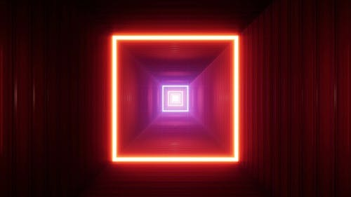 Square Light Red Container Box Tunnel