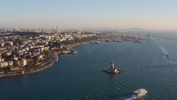Istanbul Maidens Tower Aerial View 9