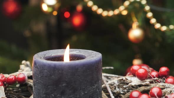 Thumbnail for Christmas decorations with candle. New Year and Christmas celebration