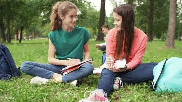 Thumbnail for Schoolgirls Doing Homework in Park