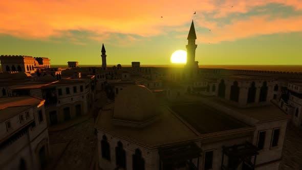 Thumbnail for Arabian City Aerial Sunset Landscape