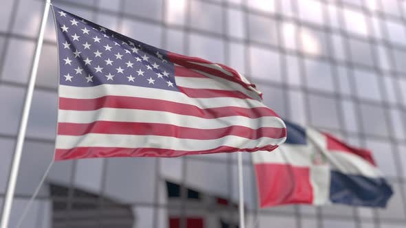 Waving Flags of the United States and the Dominican Republic