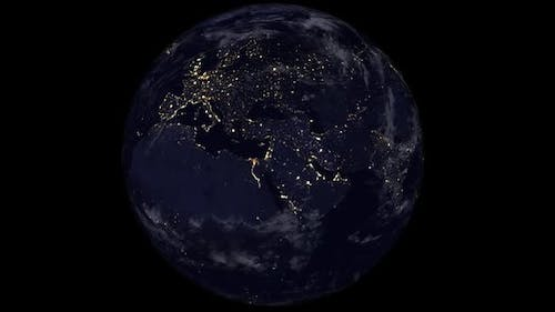 Planet Earth At Night Seen From Space