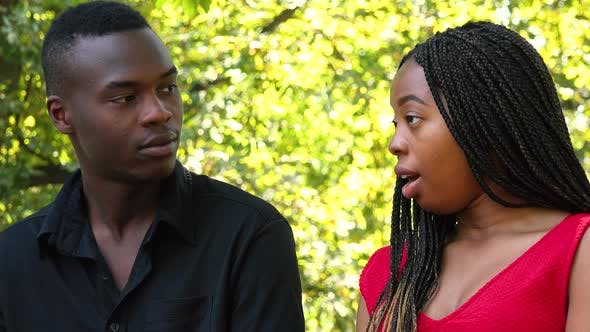 Thumbnail for A Black Man and a Black Woman Sit on a Bench and Talk in a Park on a Sunny Day - Closeup