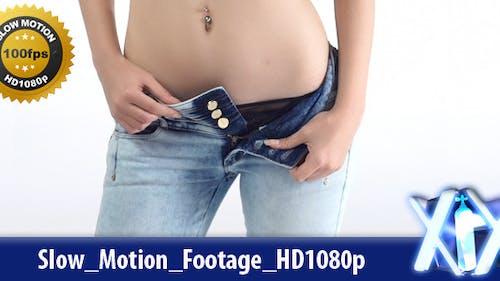 Schlanke Frau Ausziehen Jeans