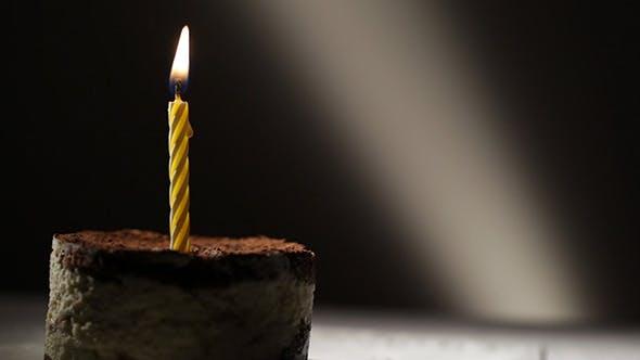 One Candle in Tiramisu Cake