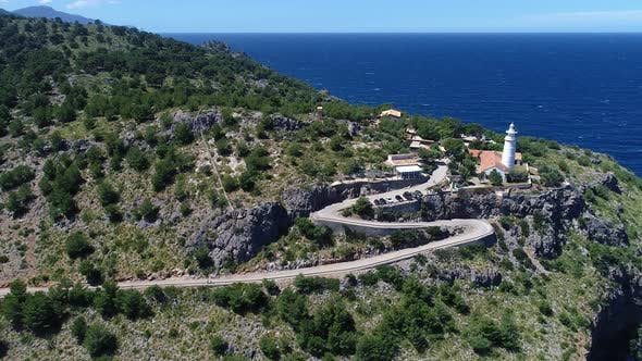 Thumbnail for Aerial View of Cap Gros Lighthouse Located on a Cliff in the Vicinity of Port Soller, Mallorca