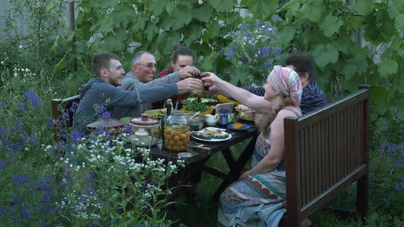 Thumbnail for Happy family sitting at dining table and clinking glasses on yard at summer house. Family party