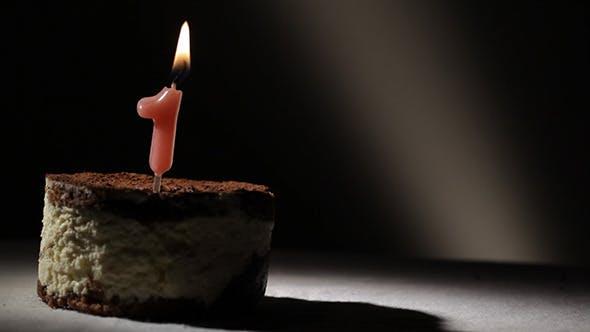Thumbnail for Candle One In Tiramisu Cake