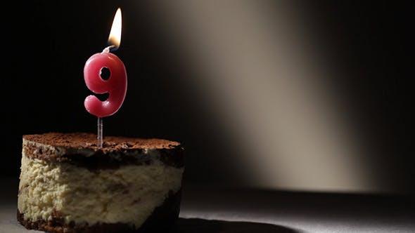 Candle 9 In Tiramisu Cake