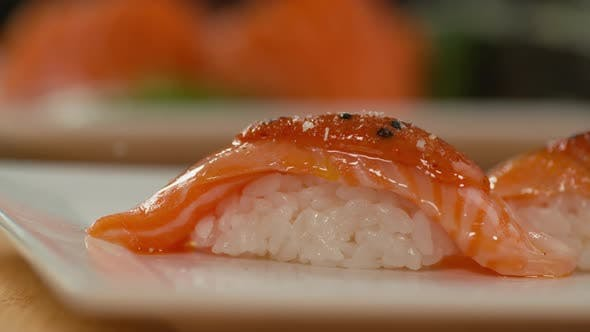 Thumbnail for Closeup of sushi in slow motion
