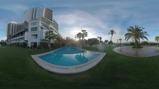 360 VR Watering Green Lawns of the Coastal Hotel in Turkey