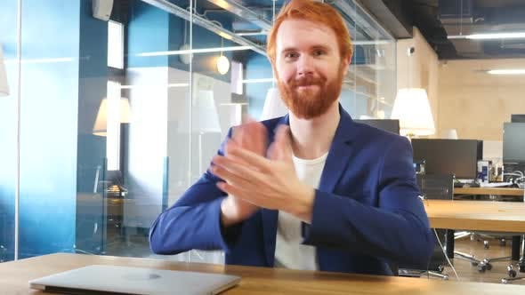Thumbnail for Clapping Man in Office, Applauding Man with  Red Hairs