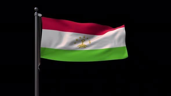 Tajikistan Flag On Flagpole With Alpha Channel 4K