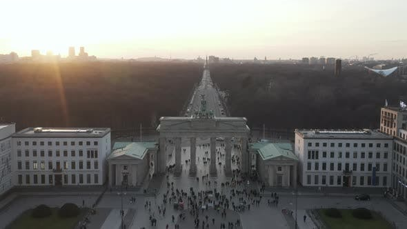 Thumbnail for AERIAL: Over Brandenburg Gate with View on Tiergarten and Berlin Victory Column in Beautiful Sunset