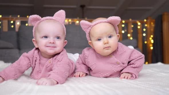 Thumbnail for Cute Baby Twins Lying Together In Pink Knitted Sweaters.