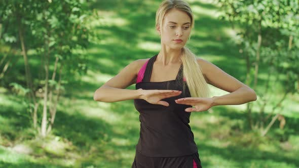 Thumbnail for Sport Woman Training Stretching Exercise in Summer Park