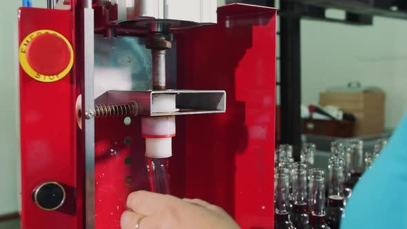 Process of Corking Wine Bottles