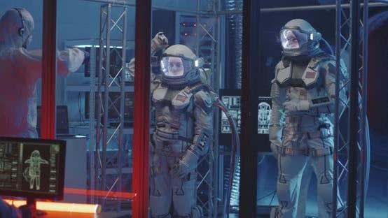 American Astronauts Testing Spacesuit