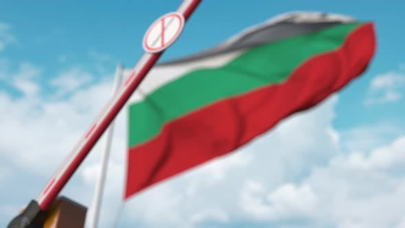 Closed Gate with No Immigration Sign at the Bulgarian Flag