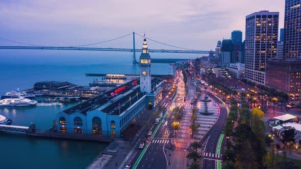 Thumbnail for Aerial Hyperlapse of San Francisco Ferry Building Embarcadero
