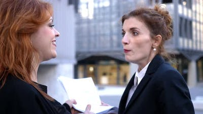 business,envy, competition- two business woman quarrelling