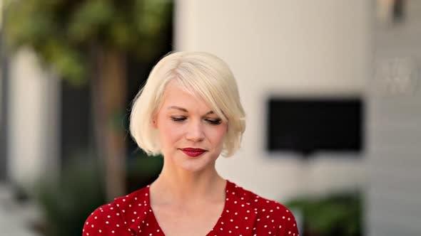 Attractive Blond Woman Walking