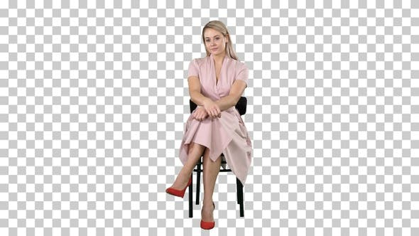 Thumbnail for Beautiful Young Woman Girl, Model Blonde with Long Hair Sitting
