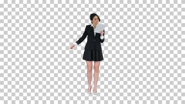 Thumbnail for Cute Woman in Skirt Dancing and Using Digital Tablet, Alpha Channel