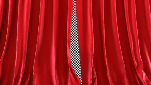 Realistic Red Curtains Opening