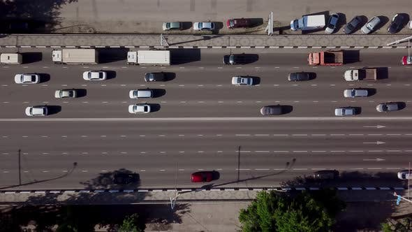 Thumbnail for Drone's Eye View - Aerial Top Down View of Highway Traffic Jam